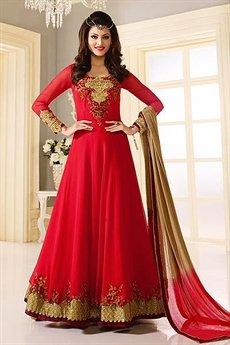Luxe Crimson Red designer Anarkali suit