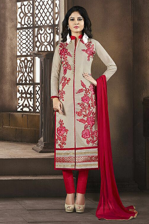 Elegant Chanderi Cotton Churidar Salwar Kameez in Red Color