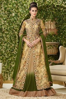 Glamorous Beige and dark olive net embroidered lehenga jacket suit.