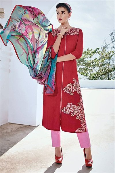 Burnt Red Embroidered Cotton Jacquard Designer Salwar Suit