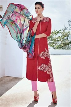 Designer Cotton Jacquard Salwar Suit in Red