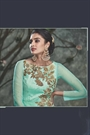 Sea Green Embroidered Silk Party Wear Embellished Indo Western Dress