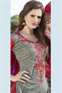 Greenish Grey Colour Printed Pure Cotton Salwar Kameez