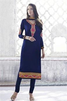 Ayka Designer Georgette Straight Cut Churidar Suit In Royal Blue
