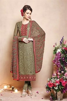 Sanskruti Sheel Pure Georgette Salwar Suits With Heavy Embroidery Heena Green