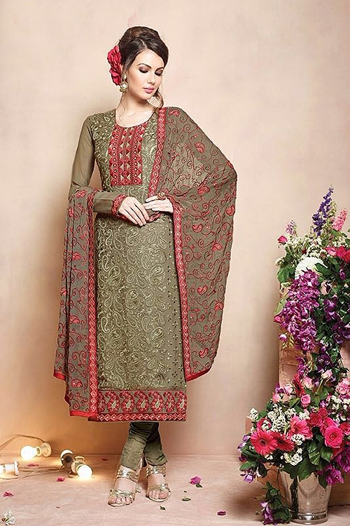 Sanskruti Sheel Pure Georgette Salwar Suits With Heavy Embroidery Heena Green