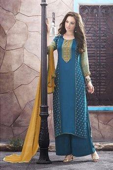 Haya Casual Wear Digital Printed Plazzo Suit In Blue