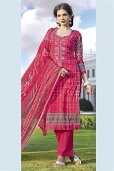 Jassi Pure Cotton Printed Suits With Neck Embroidery French Rose