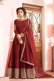 Luxurious Brick Red Silk Anarkali Suits