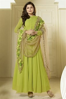 Stunning Light Green and Beige Self Embroidered Georgette Long Anarkali Suit