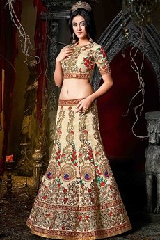 Stunning Cream, Gold & Red Silk Lehenga