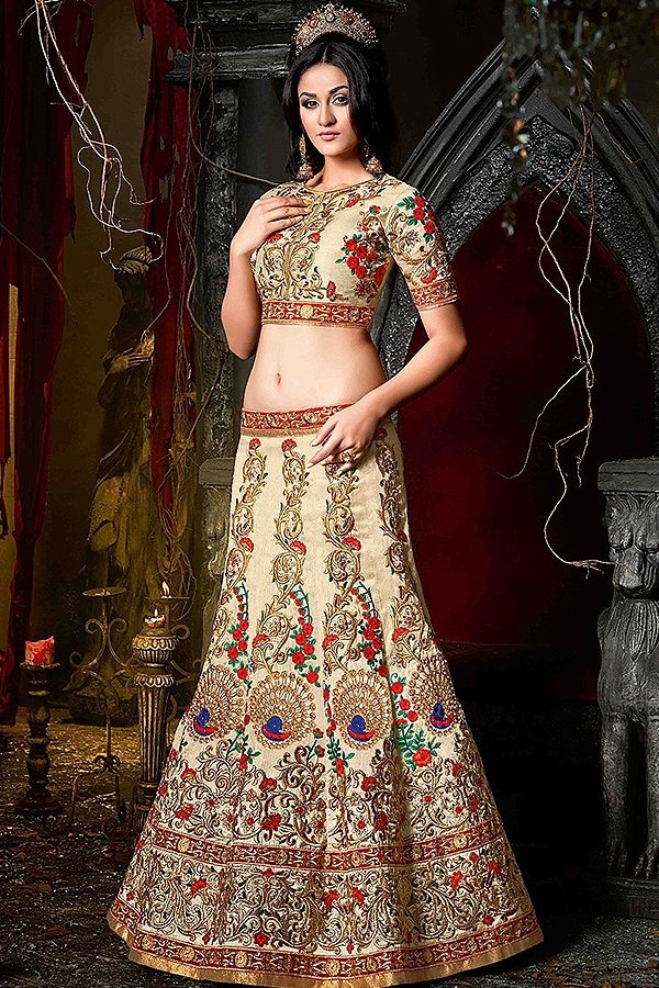 Stunning Beige, Gold & red Silk Lehenga