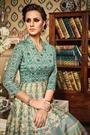 Aqua Blue Beige Designer Art Silk Anarkali Suit In Digital Print