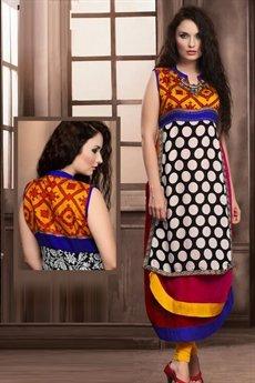 Designer Layer Style Georgette Polka Dot Kurti