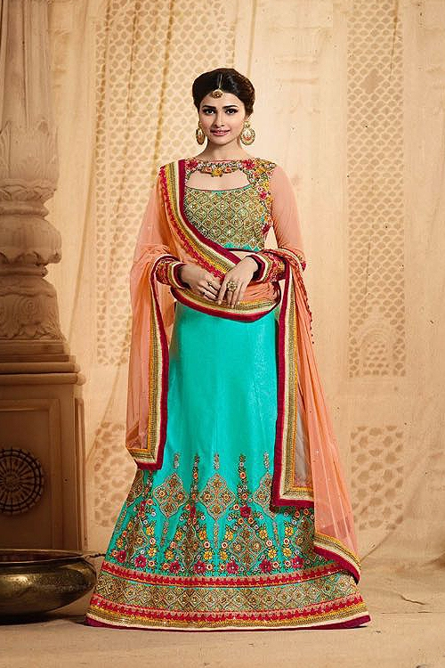Beautiful and Stunning Peach and Turquoise Green Heavy Embroidered Lehenga Set