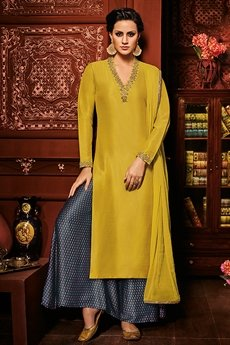 Mustard and Navy Blue Printed Palazzo Suit