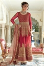 Stunning Ruby Red Zari Embroidered Net and Shantoon Anarkali Suit