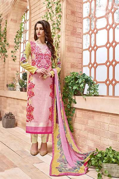 Light Pink Thread Embroidered Cotton Satin Salwar Suit with Pure Chiffon Dupatta