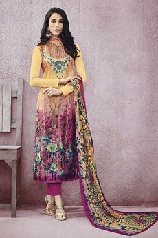Printed Salwar Suit With Thread Embroidery in Cotton
