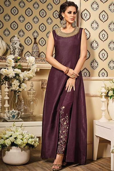 Deep Berry Purple Zari Embroidered Art Silk Side Slit Elegant Suit