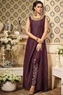 Deep Berry Purple Zari Embroidered Art Silk Side Slit Elegant Suit