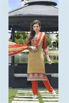Pure Cotton Printed Salwar Kameez in Orange Color