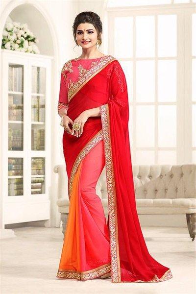 Beautiful Red and Light Pink Chiffon Saree