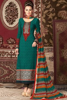 Raaga Pine Green embroidered and printed straight long suit