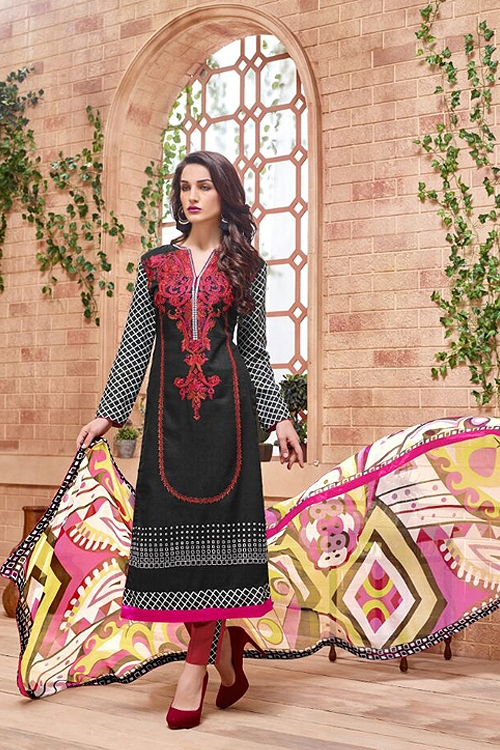 Black embroidered Salwar Suit with pure chiffon dupatta