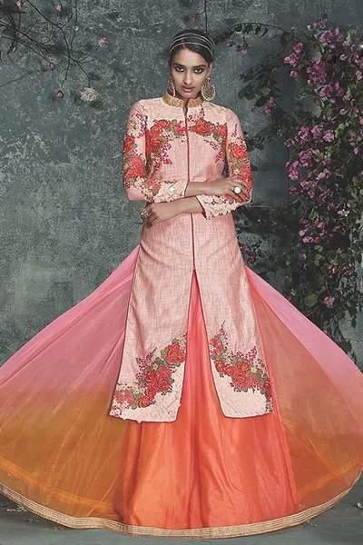 Phoenix Sand Embroidered Peach Silk Indo Western Dress
