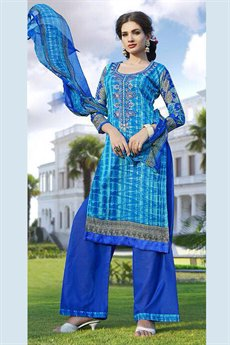 Pure Cotton Printed Salwar Kameez in Navy Blue and Turquoise Color