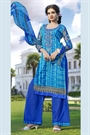 Navy Blue and Turquoise Color Printed Pure Cotton Salwar Kameez