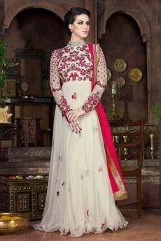 White Violet Heavy Embroidery Anarkali Suits