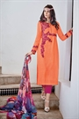 Peachy Orange Embroidered Cotton Jacquard Designer Salwar Suit