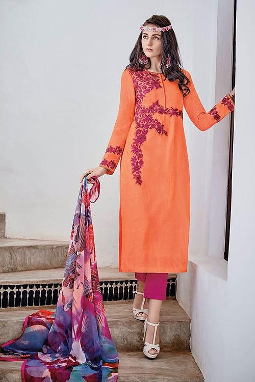 Orange Designer Cotton Jacquard Salwar Suits