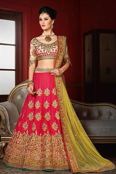 Beige and Pinkish red Designer Lehenga