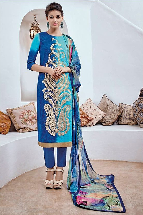 Shaded Cotton Jacquard Salwar Suit In Royal Blue and Sky Blue
