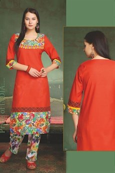Elegant Cotton Kurti In Orange