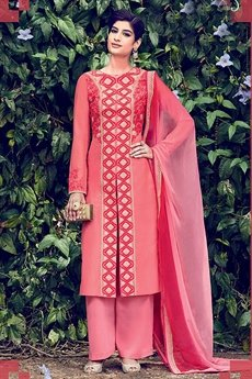 Pink Embroidered Palazzo Salwar Suits