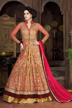 Swagat Peach Heavy Embroidery Anarkali Suits