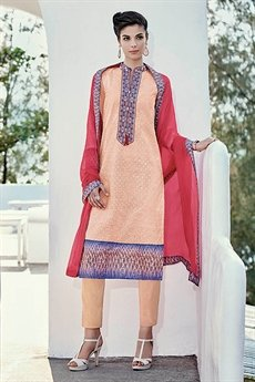 Peach Chikankari Work Straight style Salwar Suits