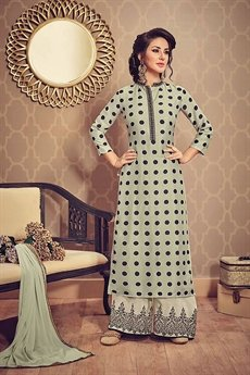 Laurel Green Polka Print Art Silk Kurti With Embroidered Palazzo