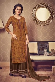 Golden Brown Printed Art Silk Kurti With Murky Brownish Green Palazzo