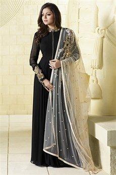 Glam Black and Cream Anarkali Suit