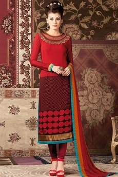 Maroon and Red Printed French Crepe Straight Long Salwar Suit