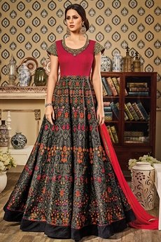Fuchsia Pink Black Floral Print Floor Length Anarkali Style Gown