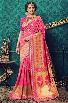 Gorgeous Pink Art Silk Saree