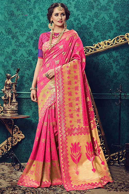 Pink Art Silk Designer Saree