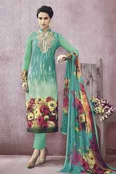 Green Jinaam Pure Cotton Printed Straight Cut Lawn Teal Green Color Suit