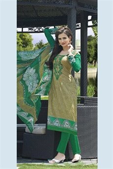 Jassi Pure Cotton Printed Suits With Neck Embroidery Green